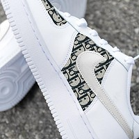 Dior x Nike Air Force 1 Print Contrast Shoes Women Men Trending Shoes White