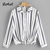 ROMWE Womens Tops and Blouses Pleated Gathered Front Dip Hem Striped Shirt Blouse 2018 Fall Women Long Sleeve Casual Ladies Tops