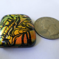 Copper Dichroic Glass Cabochon Cab  Mosaic Dichroic Pendant  Upgrade to pendant available  Fused Glass  PMC Wire Wrap
