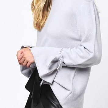 Lush Tie Sleeve Knit Sweater - FINAL SALE