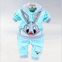 Baby Girls Clothing Set Cartoon Rabbit & Hello kitty 2016 Winter Autumn Children Clothing Casual Tracksuits Kids Clothes Girls