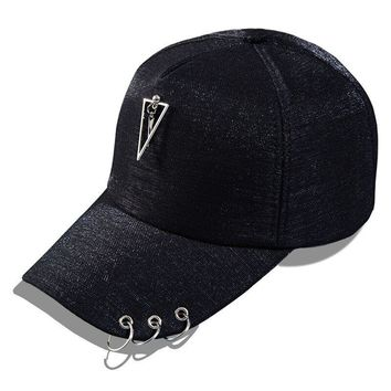 Trendy Winter Jacket Metal Tag Hip-hop Style Baseball Cap Sequins Snapback Caps Pearl Accessories Iron Ring Hats For Girls Net Cap AT_92_12