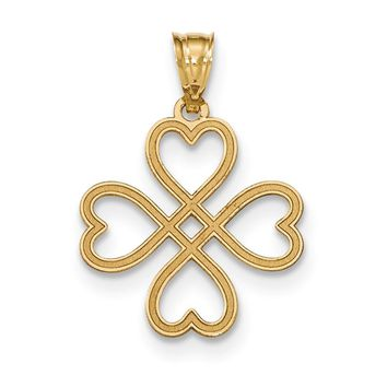 14k Yellow Gold Fancy Four Leaf Clover Pendant, 21mm (13/16 inch)