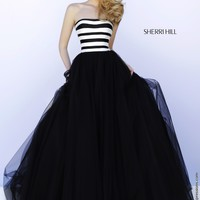 Sherri Hill 32174 Black and White Ball Gown Dress