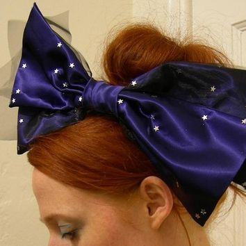 Twinkly Star Blue satin Hair bow Fascinator.