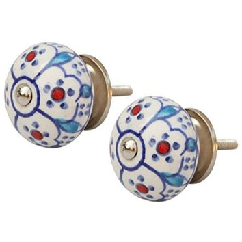 Set Of 2 Round Door Knobs In Ceramic With Hand Painted Floral Motifs By Benzara