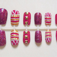 Magenta / Dark Pink,  African Inspired / Tribal Nails with Magenta Glitter, and Magenta False Nails with Flaky Top and Gold Studs Nail Set