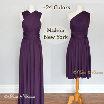 Dark Purple Bridesmaid Dresses, gown convertible dress, infinity dress, maternity dress, bridesmaid gown, party dress, Wedding Dress
