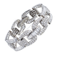 High Glamour: 1950s Round and Baguette Cut Diamond Bracelet | 1stdibs.com