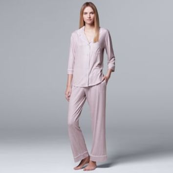 Women's Simply Vera Vera Wang Pajamas: Flirting With Autumn Top & Pant PJ Set | null