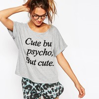 ASOS Cute But Psycho Tee & Short Pyjama Set