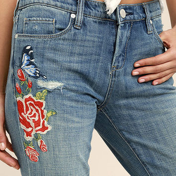Blank NYC Crop Girlfriend Light Wash Embroidered Jeans