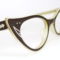 Vintage 50s Brown Cat Eye Eyeglasses Eyewear by Vintage50sEyewear