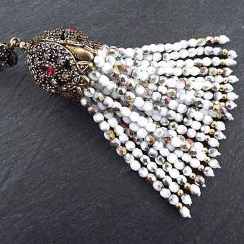 White Silver Beaded Tassel with Facet Cut Czech Glass Fire Polished AB Iridescent Beads Antique Bronze Rhinestone Accents - 1PC