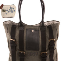 Mona B Upcycled Strapped USA Canvas & Leather Tote Bag with Coin Purse