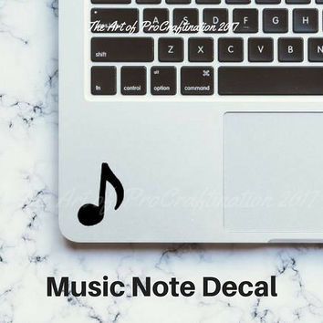 Music Note Decal, Laptop Sticker, Phone Case Decal, Water Bottle Decal, Small Musical Sticker, Quaver, Eighth Note decal, Free Shipping
