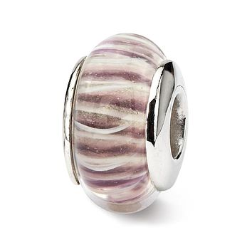 Sterling Silver Reflections Rose Striped Hand-blown Glass Bead