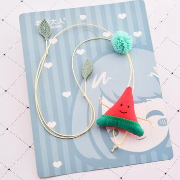 Korea Cute Lovely Handmade Watermelon Pineapple Fruit Pendant Necklace Children Kids Clothing Accessories Jewelry Birthday Gift