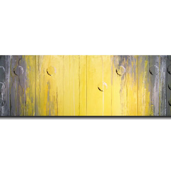 Large Abstract Braille Painting - Original Art  JMJArtStudio- FAITH- Grey and Yellow painitngs-