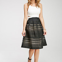 Ornate Organza-Striped Skirt
