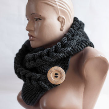 Hooded Scarf. Button Scarf. Wool Scarf. Hood, Scarf hooded, Chunky scarf, Wool cowl, LoveKnittings