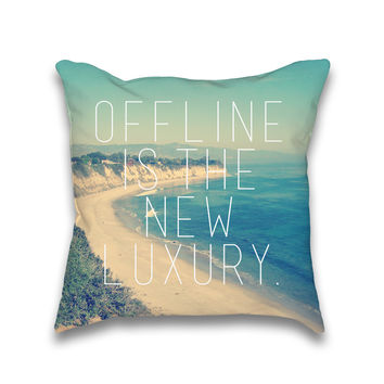 Offline is the new Luxury Vintage Beach Print Throw Pillow