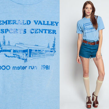 Graphic Tee Shirt Vintage 1981 RUN Emerald Valley Sports Center 80s BURNOUT Tshirt Sports Paper Thin Retro T Shirt Print Baby Blue medium