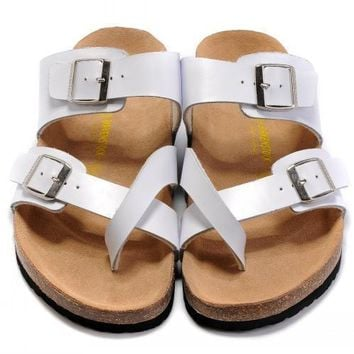 Birkenstock Leather Cork Flats Shoes Women Men Casual Sandals Shoes Soft Footbed Slippers-26