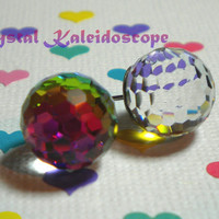 Vitrail Medium Disco Fireballs - Multi Color - Crystal Post Earrings handmade with Swarovski Elements, 12mm Studs
