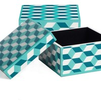 Geo Cube Box - Aquamarine | Jewelry-boxes | Accessories | Decor | Z Gallerie