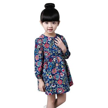 Toddler Kid Girl Long Sleeve Floral Cute Dress Casual Party Dresses Clothes 2-7Y