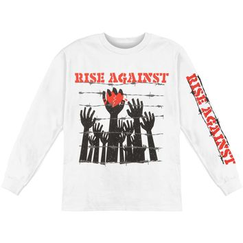 Rise Against Men's  Prisoners Long Sleeve Tee  Long Sleeve White