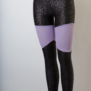 Black All-Over Sequined Leggings With Lilac Mesh Inserts, Women's Leggings, Pastel Goth Leggings, EDM Clothing, Rave Clothing