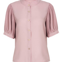 Apricot Pink Band Collar Ruched Half Sleeve Shirt