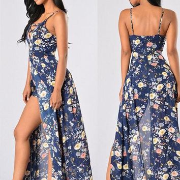 Blue Floral Lace-up Spaghetti Strap Off Shoulder Backless Chiffon Romper with Maxi Overlay
