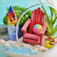 Surfboard and Beachball Terrarium Kit ~ 2 AirPlants ~ Beach Decor ~ Beach Chair ~ Bucket and Shells ~ Hanging Glass Terrarium ~ Gift Idea