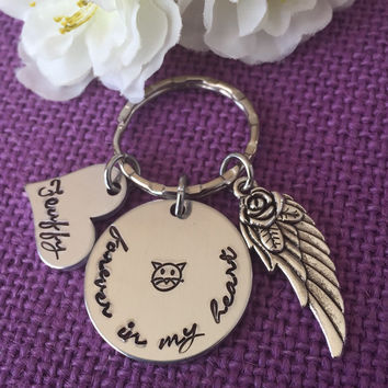 Pet Memorial Jewelry - Cat - Dog Memorial Keychain - Pet Loss Gift - Forever in my Heart, Personalized Cat Dog Remembrance Keychain - Pet
