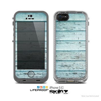 The Subtle Blue Vertical Aged Wood Skin for the Apple iPhone 5c LifeProof Case