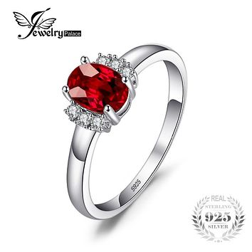 JewelryPalace 1.1ct Oval Natural Red Garnet Ring 100% Real 925 Sterling Silver Engagement Rings for Women Fine Jewelry Gift 2017
