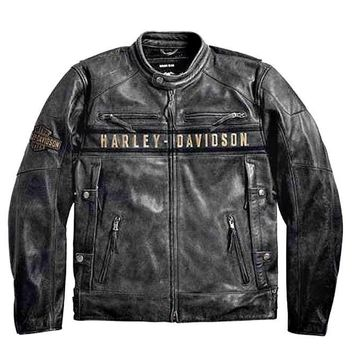 Harley-Davidson® Men's Triple Vent System Passing Link Leather Jacket - 98074-14VM