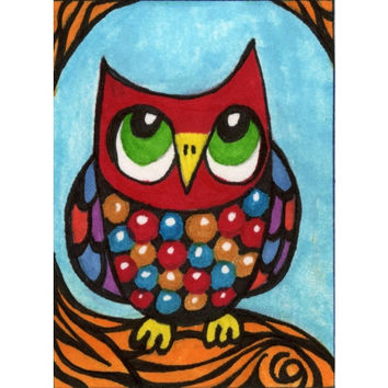Owl Print, Funny Owl Art , Kids Wall Art, Art For Children, Boys Room Decor, Girls Room Decor, Animal Art, Little Red Owl by Paula DiLeo