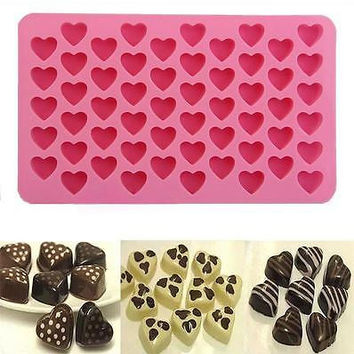 55 Silicone Heart Cake Chocolate Cookies Baking Mould DIY Ice Cube Mold Tray New
