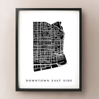 Downtown East Side Map - Toronto Neighbourhood Art Print