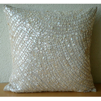 Decorative Euro Sham Covers Accent Couch Sofa Pillows 26x26 Linen Euro Sham Mother Of Pearl Embroidered Pillow Case Bedroom Glazed Pearls
