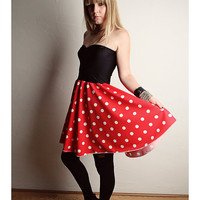 Minnie Mouse Dress Halloween COSTUME Handmade Red Polka Dot Black