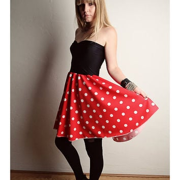 Minnie Mouse Dress Halloween COSTUME Handmade Red Polka Dot Black  sc 1 st  wanelo.co & Minnie Mouse Dress Halloween COSTUME from lynnsrags on Etsy