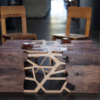 Geometrical Branching Coffee Table - Walnut & Maple