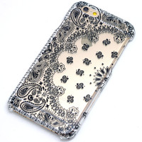 Bandana Paisley Black Clear Case iPhone 6, 6 Plus, 6S, 5, 5C, 5S, Galaxy S5, S6, Note 4