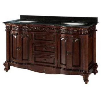Estates 61 in. Vanity in Rich Mahogany with Granite Vanity Top in Black and 2 Sink Basins in White ETGVT6022D at The Home Depot - Mobile