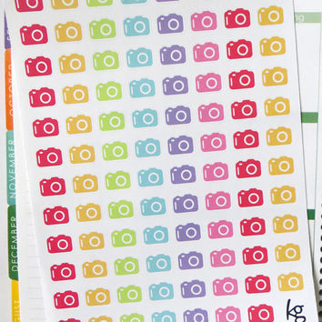 95 Camera Planner Stickers for Erin Condren Planner, Filofax, Plum Paper